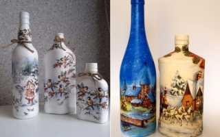Декупаж винной бутылки самое лучшее. Декупаж бутылок в разных вариантах (фото). Декупаж бутылки: процесс