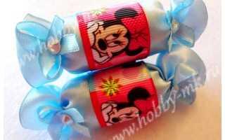 Конфеты из атласных лент. Заколки конфетки-леденцы из фоамирана. Моделирование цветов для резинок из атласных лент