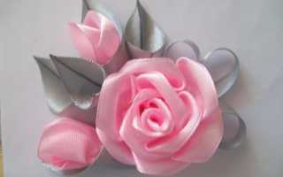 Роза-брошь из лент. Украшения из атласных лент. Брошь роза Как сделать брошь из атласных лент розами