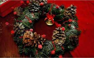 Новогодний венок из старой елки своими руками. Новогодний венок. Делаем своими руками. Новогодний венок из шишек и веток