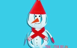 Новогодний снеговик своими руками из бумаги пошагово. Снеговик из капроновых колготок. Фигурка из конуса