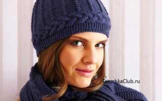 Вязать спицами зимнюю с помпоном для девушку. Шапка с косами и меховым помпоном и шарф спицами. Шапка тыковка спицами