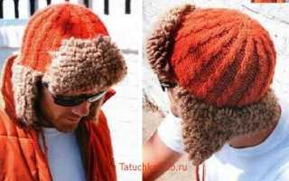 Вязаная мужская шапка: фото-схемы с описанием для начинающих. Вяжем спицами модные в этом сезоне шапки ушанки с мехом