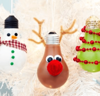 Елочные игрушки из лампочек своими руками. Елочные игрушки из лампочек: кладезь идей для новогоднего декора