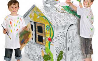 Раскраска домик с трубой. Идея для игровой зоны в кафе: складные картонные домики-раскраски. Какой выбрать размер