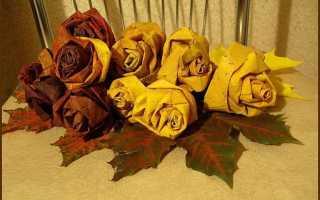 Детские поделки на тему осень для школы. Розы из кленовых листьев. Осенние поделки из природных материалов фото