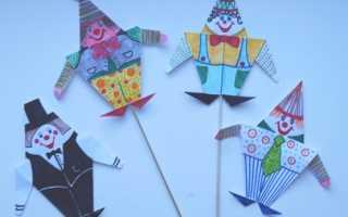 """Оригами клоун схемы для начинающих. Простая поделка для детей оригами с фото. Пошаговая фото инструкция аппликации """"Клоун"""""""