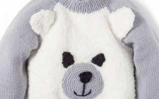 Детский свитер «Мишка», вязаный спицами. Детский джемпер в виде «мишки» спицами Вязаная кофточка для девочки с мишками