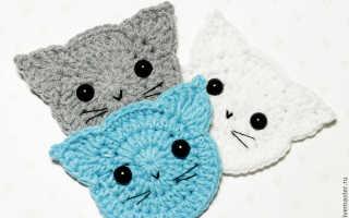 Аппликации крючком: схемы, описания и варианты использования. Кошки на одежде Аппликация вязаная крючком кошка