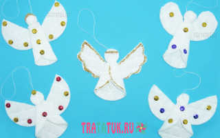 Новогодние поделки ангелочки из ватных дисков. Ангел из ватных дисков поэтапно. Елка из ватных дисков